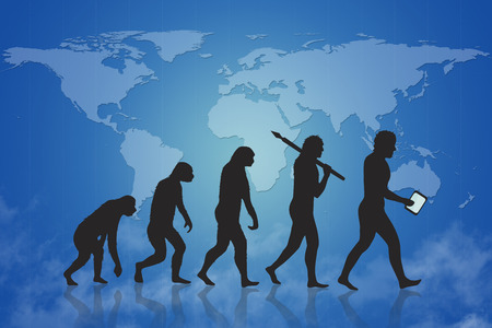 Foto de Human and technology evolution with blue map of earth background. Evolution from ape to modern man and beyond to digital man digital people man with smart device. In the background is a world map. - Imagen libre de derechos