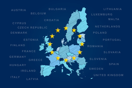 European Union map with 28 member states  Also with last