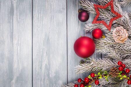 Photo pour Christmas ornaments on the wooden background. Copy Space for text. - image libre de droit