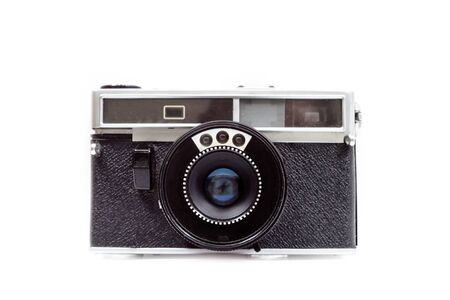 Photo pour An old film camera on white background. Front view. Isolate. - image libre de droit