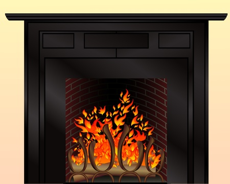Isolated fireplace with burning fire