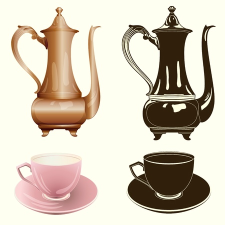 tea set: antique tea pot and cup in color and monochrome