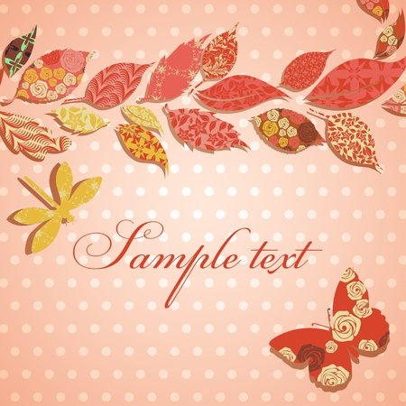 Vintage background with border of patch leaves