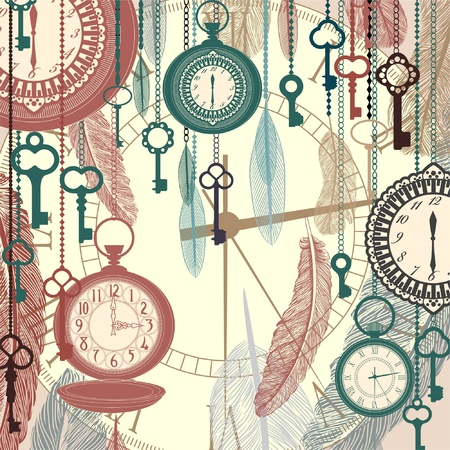 Illustration pour Vintage vector background with pocket watches and feathers - image libre de droit