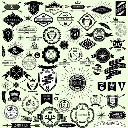 Collection of vintage labels and stamps for design  Easily editable vector illustration
