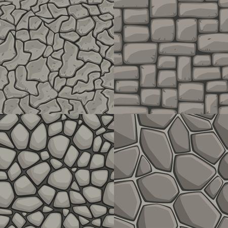 Vector cartoon stone wall seamless texture collection