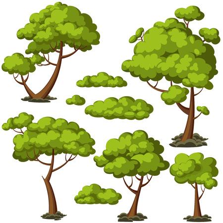Illustration pour Set of funny cartoon trees and green bushes. Vector illustration. - image libre de droit