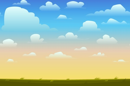 Illustration pour Cartoon nature seamless horizontal landscape with a beautiful evening or morning sunset sky and clouds. Vector illustration. - image libre de droit