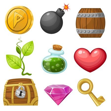 Illustration pour Stock Vector Illustration: Resource icons for games. Vector illustration. Pick up items set 1. - image libre de droit