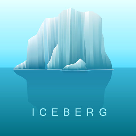 Vector background of icebergs and sea.Illustration of Arctic or antarctic landscape.