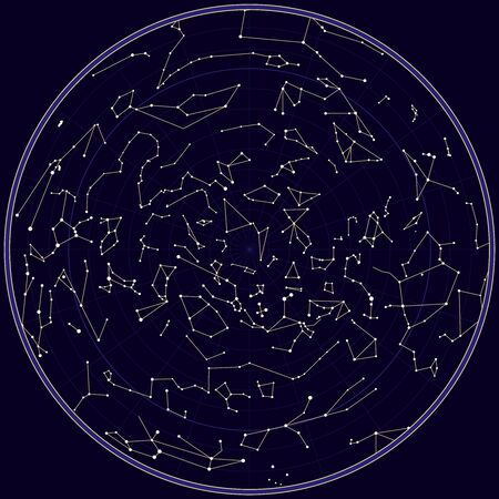 Vector map of norhern sky with constellations