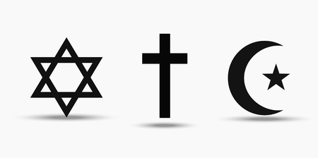 Illustration pour Symbols of the three world religions - Judaism, Christianity and Islam. - image libre de droit