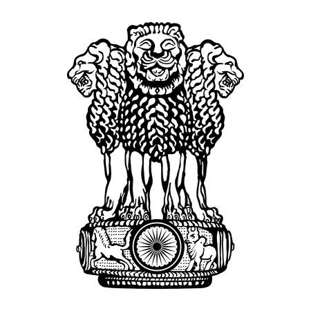 Ilustración de Emblem of India. Black and white. - Imagen libre de derechos