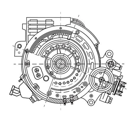 Illustration pour Electric motor section representing the internal structure - image libre de droit