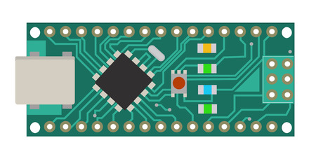 DIY electronic mini board with a micro-controller, LEDs, connectors, and other electronic components, to form the basic of smart home, robotic, and many other projects related to electronics. Vector.