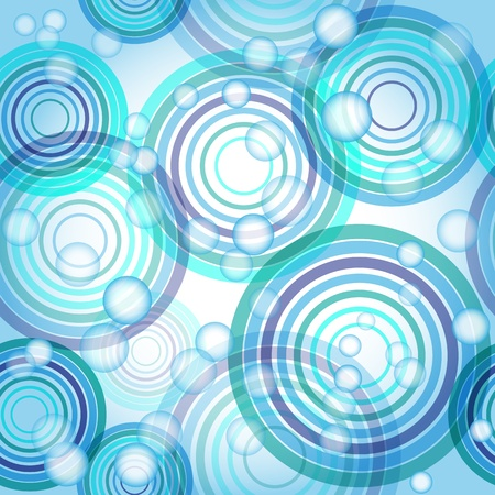 Abstract seamless background made of set of rings and balls, vector illustration, eps10, 3 layers