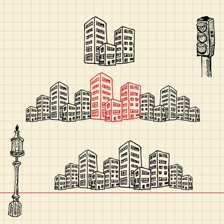 Cityscape, sketch set, vector illustration, eps10