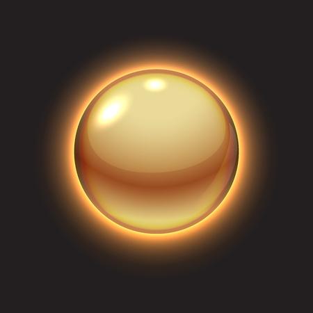 Golden glowing ball on black illustration