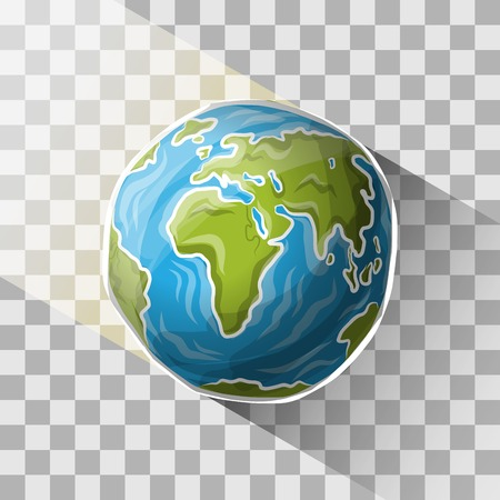 Doodle globe with transparent shadow, vector illustration for your design, eps10 3 layers