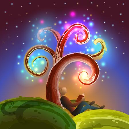 Imagination tree reading, vector illustration for Your design, eps10