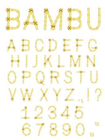 bamboo wood abc alphabet isolated on white