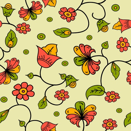 Illustration for vector Russian style floral seamless background pattern - Royalty Free Image