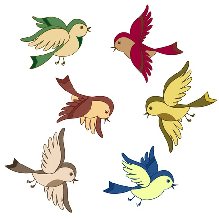 vector set of flying bird cartoon isolated