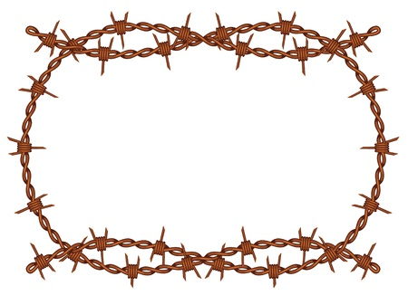 old rusty barbed wire frame pattern isolated