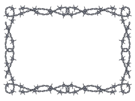 barbed wire frame pattern isolated on white