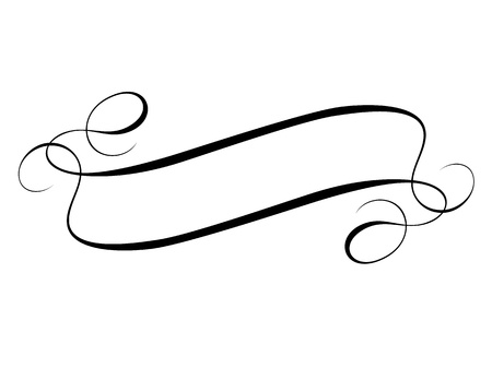 Vector calligraphy ribbon frame banner black isolated