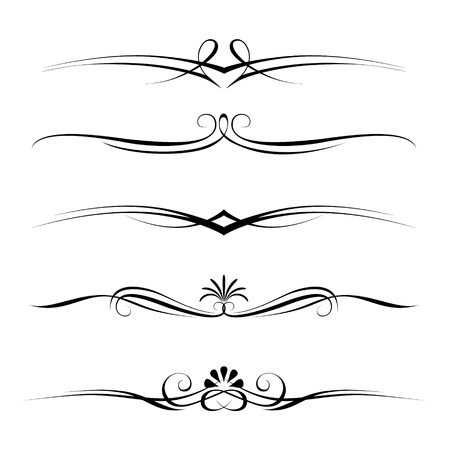 Illustration for set of decorative elements, border and page rules frame - Royalty Free Image
