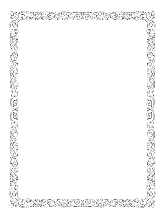 simple black calligraph ornamental decorative frame pattern