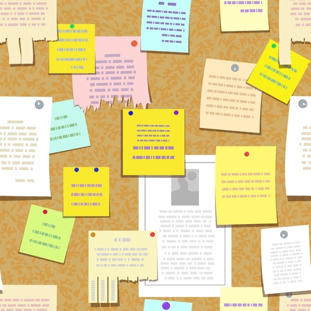 seamless cork bulletin board with notes, cards, advertise