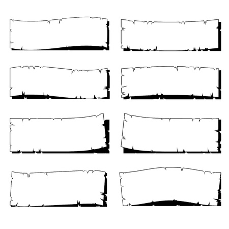 Illustration pour set of white ripped old paper frame with shadow isolated on white - image libre de droit