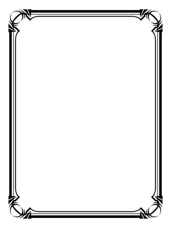 Vector Art Deco black calligraph ornamental decorative frame pattern