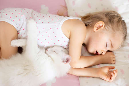 Photo pour A little girl sleeps in a crib with pink bed linen with clouds, a white cat in the nursery. Quiet hour, top view. - image libre de droit