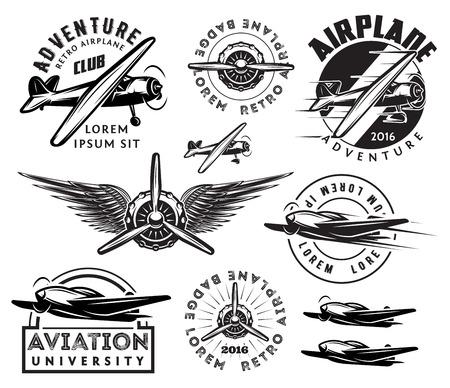 Ilustración de retro pattern set of monochrome planes, badges, design elements - Imagen libre de derechos