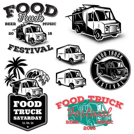 Illustration for set of templates, design elements, vintage style emblems for the food truck - Royalty Free Image