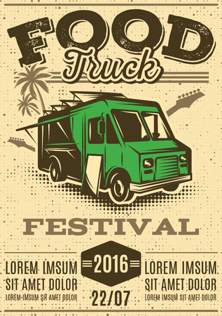Illustration for retro poster for invitations on street food festival with food truck on the background - Royalty Free Image