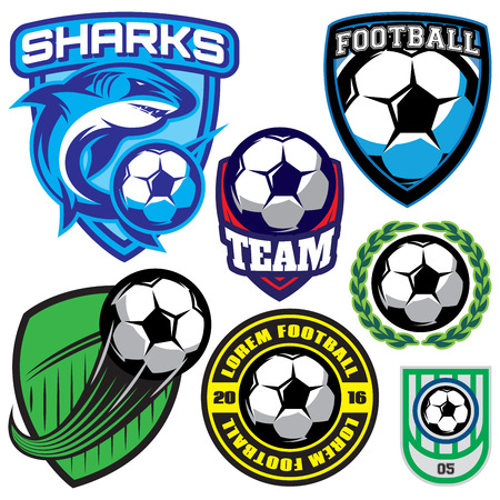 Illustration pour set of sports badge with a soccer ball and shark for the team, colored vector illustration - image libre de droit