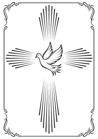 Illustration pour Symbolic cross and dove. Template emblems for church. Vector illustration for design. - image libre de droit