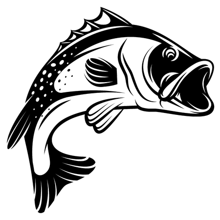 Vector monochrome illustration of a bass with fins, tail and open mouth