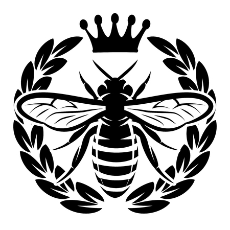 Illustration pour Vector pattern with flying bee and crown. - image libre de droit