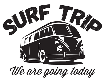 Illustration for monochrome vector badge with a bus for traveling to the ocean. - Royalty Free Image