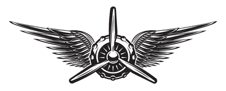 Illustration for Monochrome retro banner with propeller and wings. Vector illustration. - Royalty Free Image