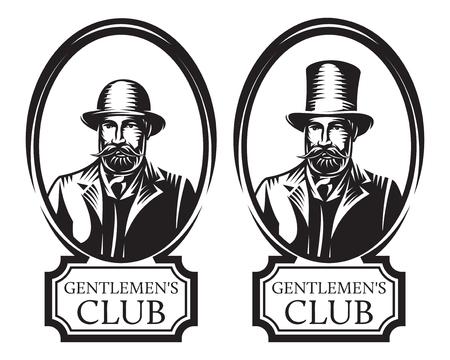 Illustration pour Set of vector monochrome illustrations for gentleman s club. - image libre de droit