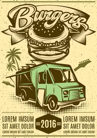 Illustration pour Good Burger Car. Fast food truck. - image libre de droit