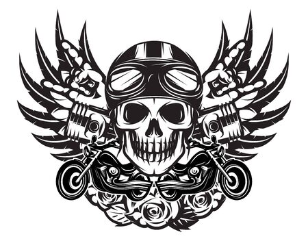 Illustration pour Vector monochrome illustration on the combined theme of rock music and motorcycle. - image libre de droit