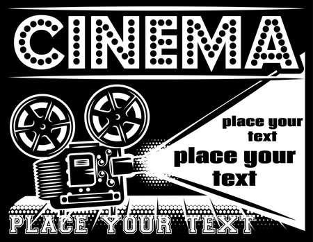 Illustration pour Movie theater poster with projector. Retro style poster. Monochrome vector illustration. - image libre de droit