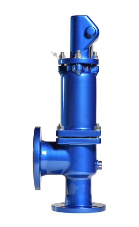 Photo pour New blue safety valve with lever on white background. Valve for use in water supply. Spring valve - image libre de droit